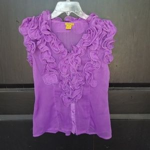 ORCHID SHEER RUFFLED PAGEANT PHOTO TOPPER TOP M